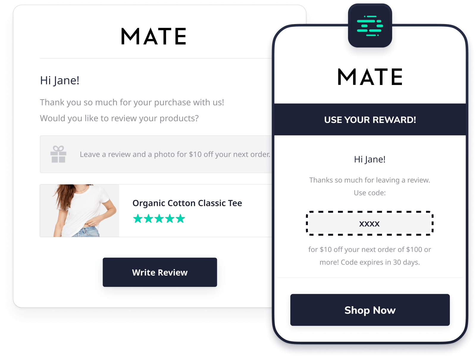 Review request email with coupon for MATE the Label