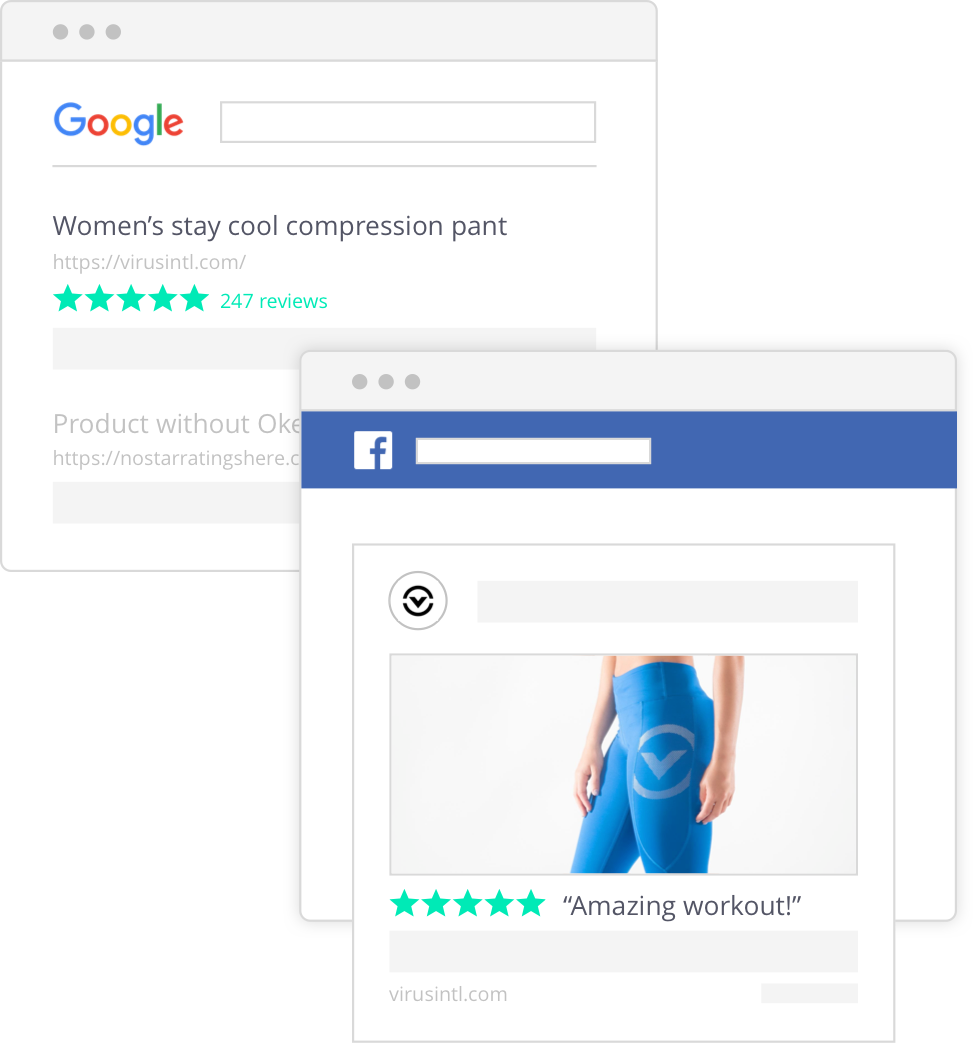 Okendo review content in google search results and facebook ads