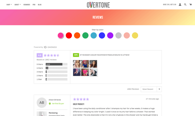 Screenshot of oVertone website