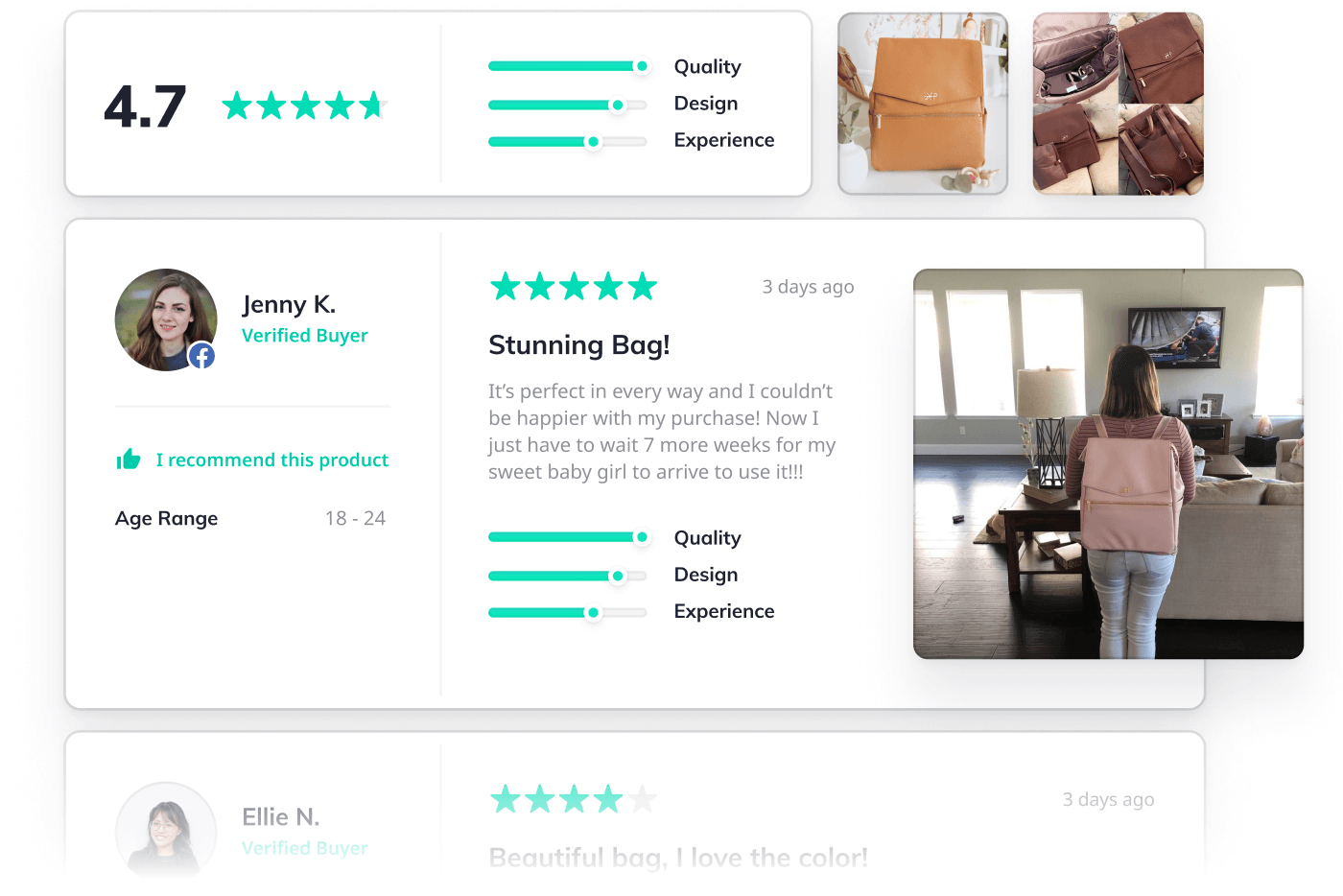 Reviews widget with user-generated content (UGC)